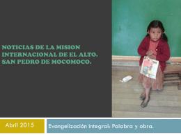 Noticias de la misión internacional del Alto (Bolivia) abril 2015