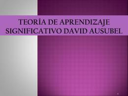 Teoría de Aprendizaje Significativo David Ausubel