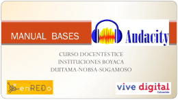 MANUAL AUDACITY - Boyacá Vive Digital Regional