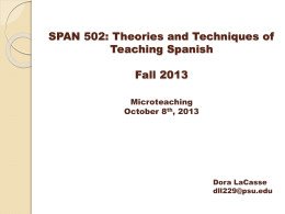 SPAN 502: Theories and Techniques of