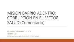 MISION BARRIO ADENTRO: CORRUPCIÓN EN EL SECTOR SALUD