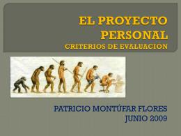 EL PROYECTO PERSONAL CRITERIOS DE EVALUACIÓN