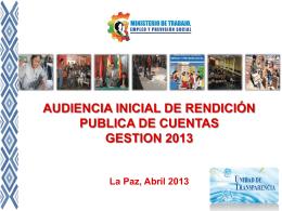 Diapositiva 1 - Ministerio de Trabajo, Empleo y Previsión Social