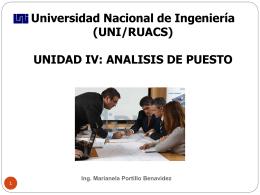 IV Analisis de Puesto - Ing. Marianela Portillo B.