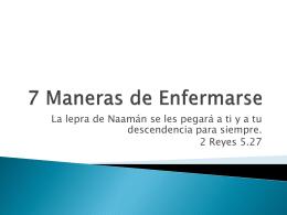 7 Maneras de Enfermarse - Ministerio Pueblo Deseado