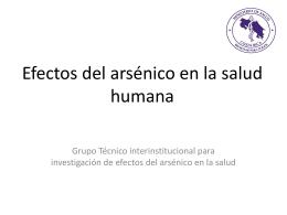 Efectos del arsénico en la salud humana.