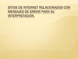 Sitios de internet relacionados con mensajes de error para su