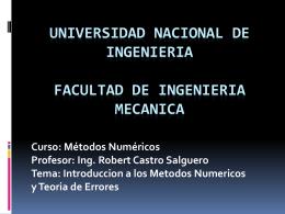 Los Metodos Numericos y la Teoria de Errores