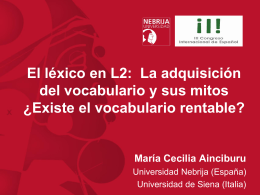 Existe el vocabulario rentable? (Universidad Antonio de Nebrija