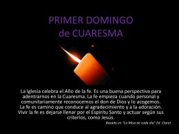 PRIMER DOMINGO de CUARESMA - Misioneras de la Inmaculada
