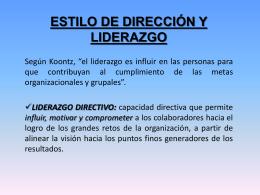 ESTILO DE DIRECCIÓN Y LIDERAZGO