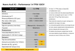 Ficha técnica y de equipamiento del nuevo Audi A3