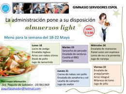 La administración pone a su disposición almuerzos light
