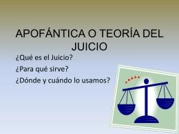 APOFÁNTICA O TEORÍA DEL JUICIO