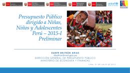 Presupuesto Público dirigido a Niñas, Niños y Adolescentes Perú