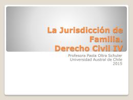La Jurisdicción de Familia. Derecho Civil IV