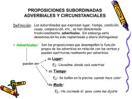 PROPOSICIONES SUBORDINADAS ADVERBIALES Y