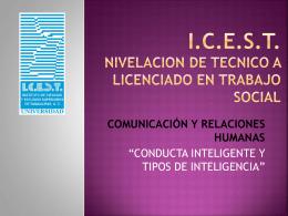 CONDUCTA INTELIGENTE Y TIPOS DE INTELIGENCIA