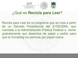 ¿Qué es Recicla para Leer? - Comisión Nacional de Libros de Texto
