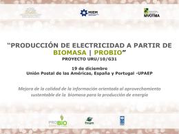 *PRODUCCIÓN DE ELECTRICIDAD A PARTIR DE BIOMASA