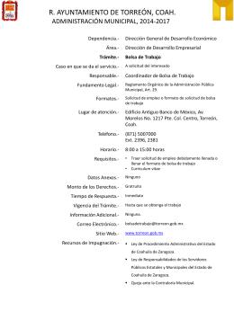 trámite bolsa de trabajo - Ayuntamiento de Torreón