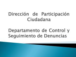 Presentación del Departamento de Control y Seguimiento de