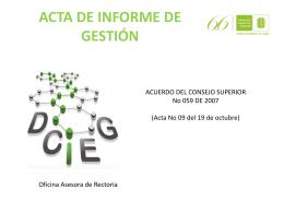 acta de informe de gestión - Universidad Industrial de Santander