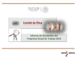 Informe de resultados del Programa anual de Trabajo 2014