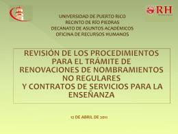 Presentación - Universidad de Puerto Rico, Recinto de Río Piedras