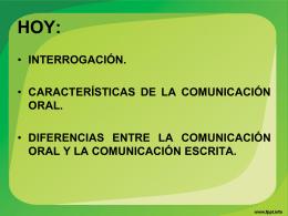 caracteristicas de la comunicacion oral