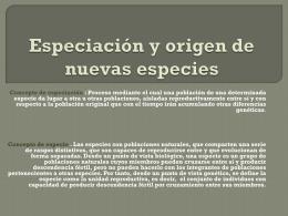 Especiación y origen de nuevas especies