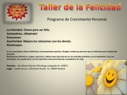 Taller de la Felicidad - Centro de Psicología MaravillosaMente