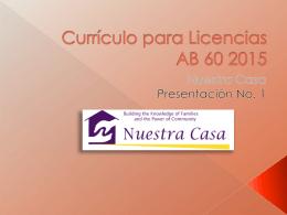 Currículo de Licencia AB 60 2015