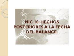 nic 10: hechos posteriores a la fecha del balance.