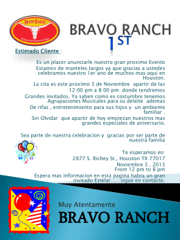 invitation customer - Bienvenido a Bravo Ranch