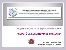 """""""Experiencia Comité de Seguridad de Pacientes""""."""