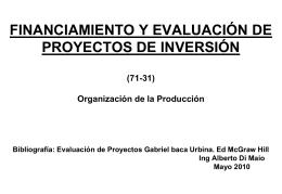 FINANCIAMIENTO Y EVALUACIÓN DE PROYECTOS DE INVERSIÓN