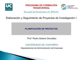 GESTIÓN DE PROYECTOS - Universidad de Cantabria