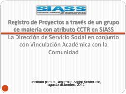 Registro de Proyectos Vinculados en SIASS Vinculación Académica