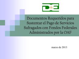 Documentos Requeridos para Sustentar el Pago de