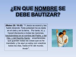 El bautismo en el nombre del Padre, del hijo y del