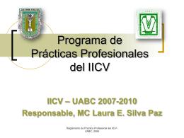 Presentación en Power Point del programa de práctica profesional
