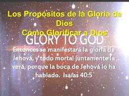 Los Propósitos de la Gloria - VidaNueva-com