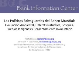 Las Salvaguardas del Banco Mundial: Evaluación Ambiental