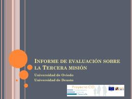 Informe de evaluación sobre la Tercera misión Universidad