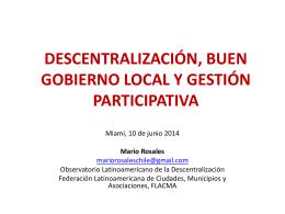 Descentralización, Buen Gobierno Local y Gestión Participativa