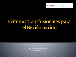 Criterios transfusionales para el Recién nacido