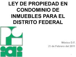 LEY DE PROPIEDAD EN CONDOMINIO DE INMUEBLES PARA EL