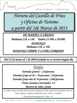 Horario del Castillo de Frías y Oficina de Turismo a partir del 1de