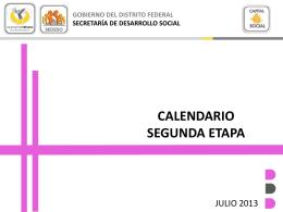 calendario segunda etapa - Secretaría de Desarrollo Social